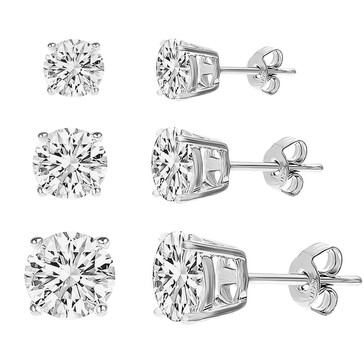 Cubic Zirconia Stud Earrings Three Pair Set in Rhodium Plated Sterling Silver