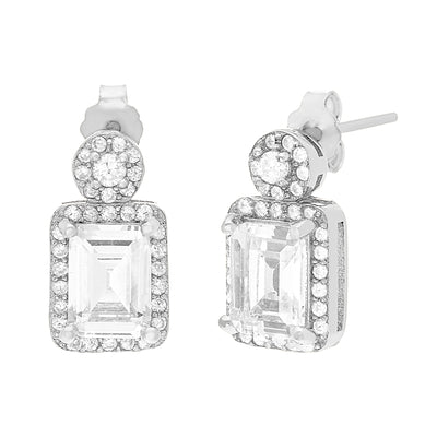 Emerald Cut Cubic Zirconia Halo Drop Stud Earring in Rhodium Plated Sterling Silver