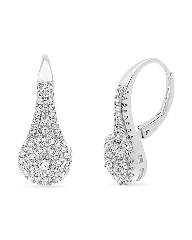 Cubic Zirconia Halo Leverback Earrings in Sterling Silver