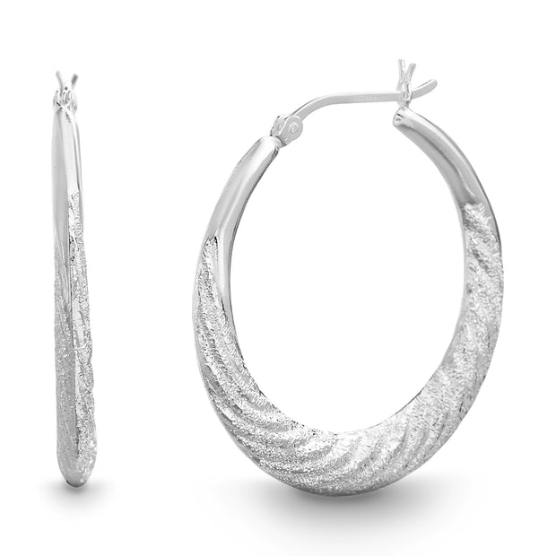 35mm Sterling Silver Textured Hoop Earrings