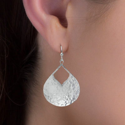 Sterling Silver Hammered Finish Teardrop Earrings