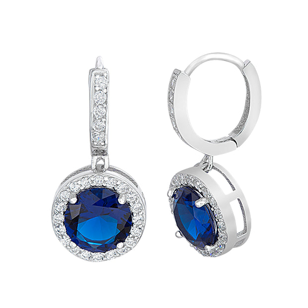Simulated Gemstone and Cubic Zirconia Dangle Drop Halo Earring in Sterling Silver