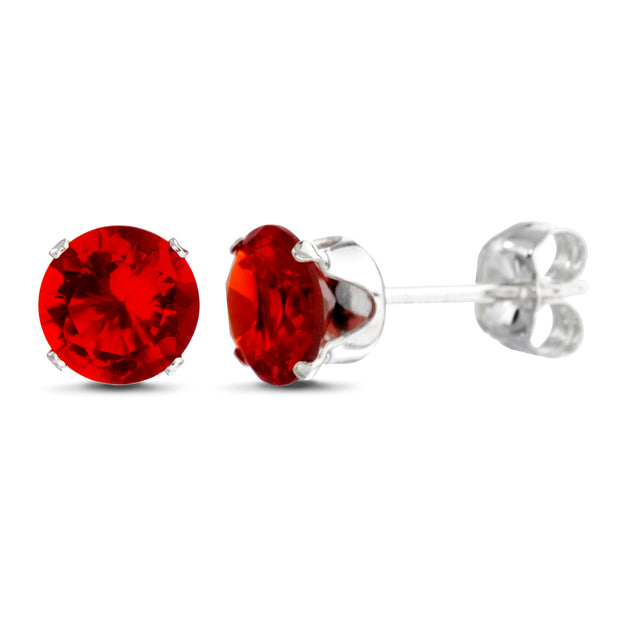 Sterling Silver Simulated Gemstone Stud Earrings