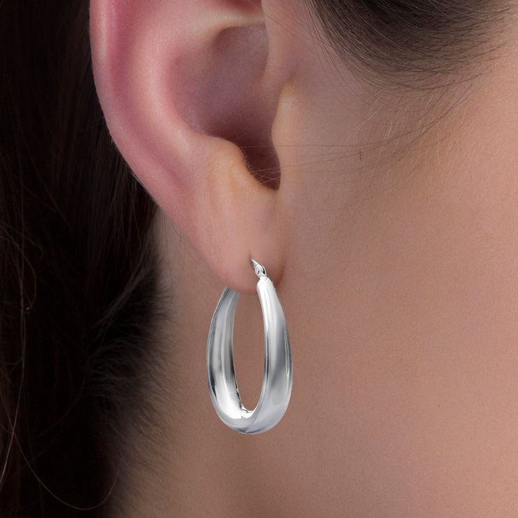 40mm Sterling Silver Oval Hoop Earring