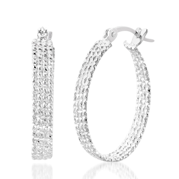 19mm Sterling Silver Textured Hoop Earrings