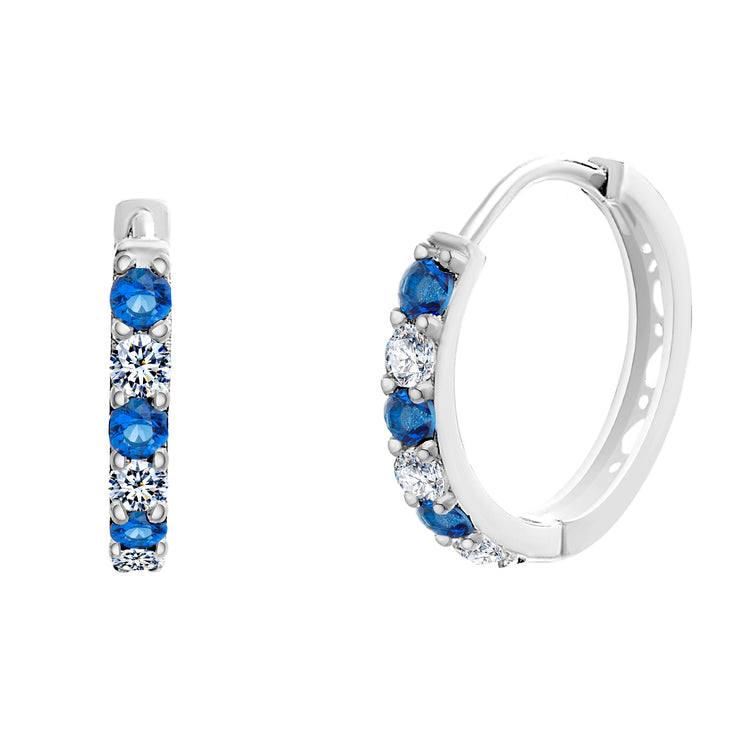 Cubic Zirconia and Simulated Blue Sapphire Huggie Hoop Earrings in Rhodium Plated Sterling Silver
