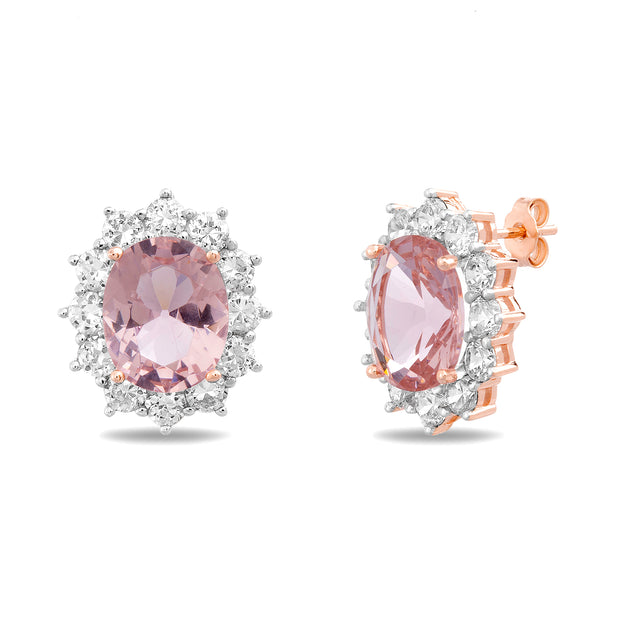 Oval and Round Cut Prong Set Simulated Morganite and Cubic Zirconia Stud Bridal Halo Earring for Women in Rose Gold Plated 925 Sterling Silver