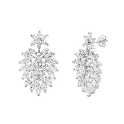 Cubic Zirconia Cluster Drop Dangle Stud Earring in Rhodium Plated Sterling Silver