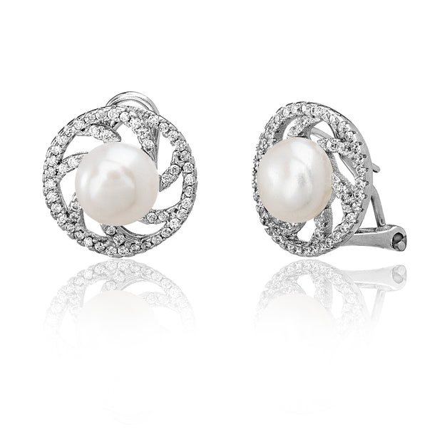 Cultured Freshwater Pearl and Cubic Zirconia Swirl Stud Earring in Rhodium Plated Sterling Silver
