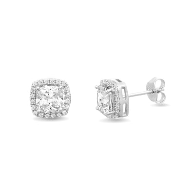 Cushion Shaped Prong Set Cubic Zirconia Stud Bridal Halo Earring for Women in Rhodium Plated 925 Sterling Silver