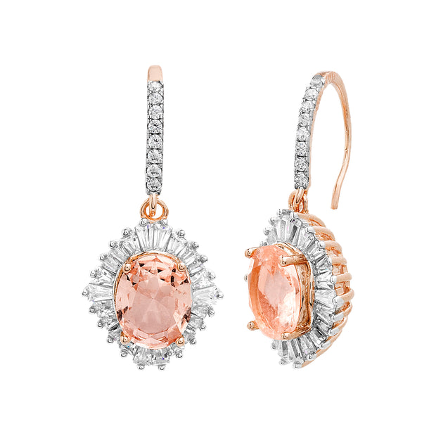 Simulated Morganite and Cubic Zirconia Oval Drop Earrings in Rose Gold Plated Sterling Silver