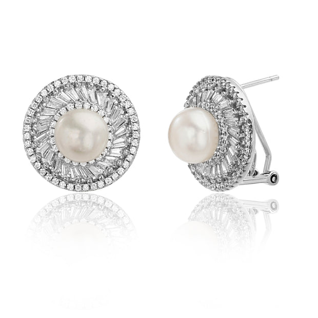 Baguette and Round Shaped Prong Set Freshwater Cultured Pearl and Cubic Zirconia Ballerina Stud Bridal Halo Earring for Women with Omega Back in Rhodium Plated 925 Sterling Silver