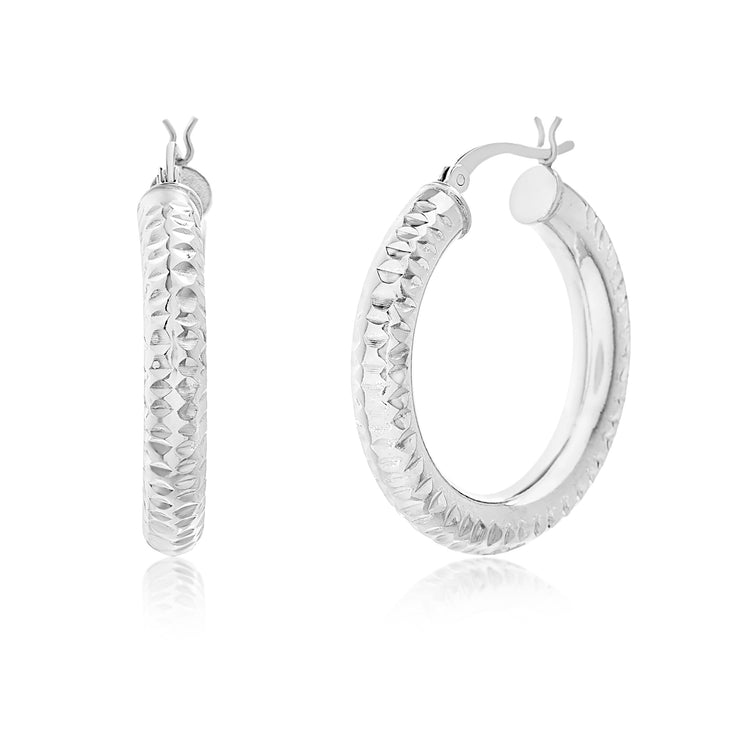Diamond Cut Sterling Silver Tube Hoop Earrings