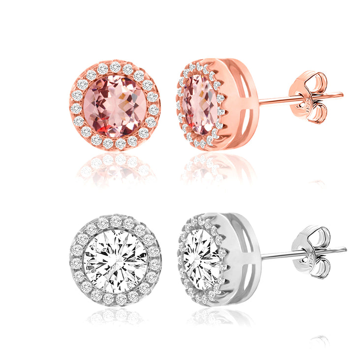 Cubic Zirconia and Simulated Morganite 2 pair Stud Earrings in Sterling Silver
