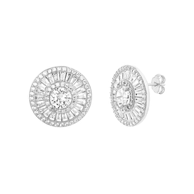 Round and Baguette Cubic Zirconia Round Halo Stud in Rhodium Plated Sterling Silver