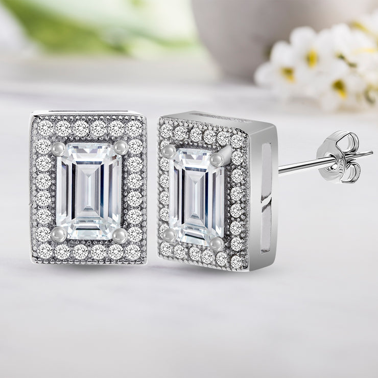 Cubic Zirconia Baguette Earrings in Rhodium Plated Sterling Silver