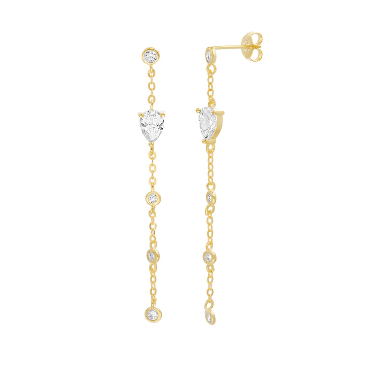 Cubic Zirconia Station Chain Linear Earrings in Yellow Gold Plated Sterling Silver
