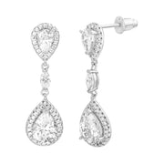 Cubic Zirconia Teardrop Dangle Drop Earrings in Rhodium Plated Sterling Silver