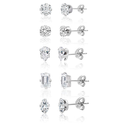 5 Pair Cubic Zirconia Stud Earring Set in Rhodium Plated Sterling Silver