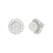 Cultured Freshwater Pearl and Cubic Zirconia Flower Stud Earring in Rhodium Plated Sterling Silver