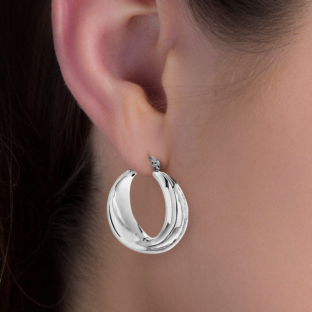 Layered Shell Style Hoop Earrings in Rhodium Plated Sterling Silver