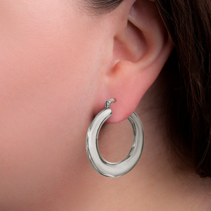Polished Rhodium Plated Sterling Silver Hoop Earrings