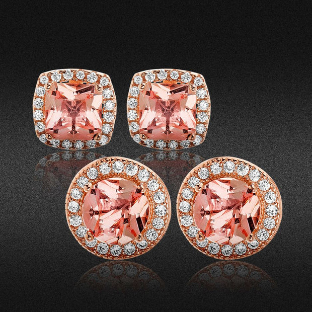 Simulated Morganite & Cubic Zirconia Boarder Post Earrings Set in Rose Gold Plated Sterling Silver