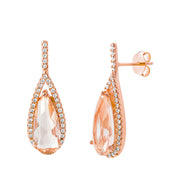 Simulated Morganite Teardrop and Cubic Zirconia Dangle Earrings in Rose Gold Plated Sterling Silver