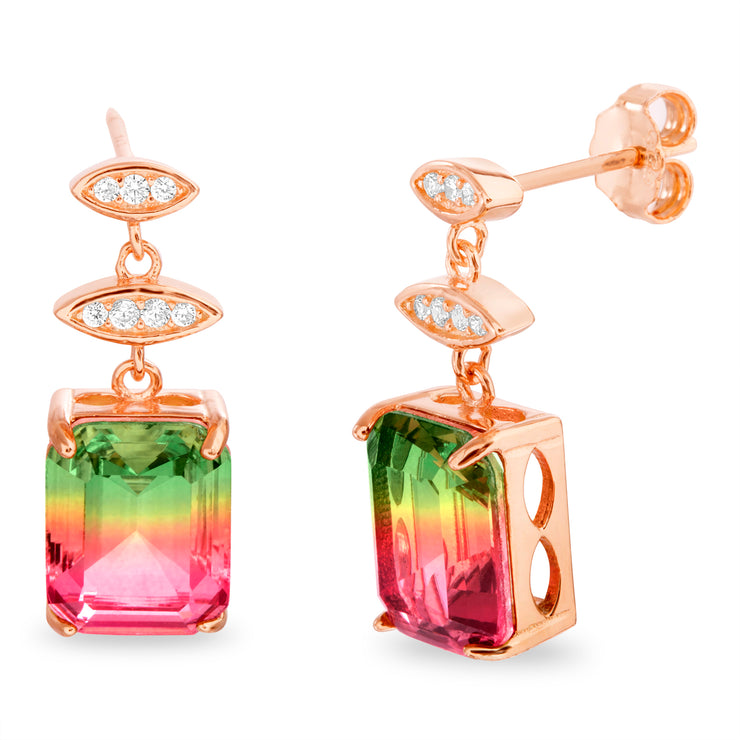 Simulated Watermelon Tourmaline and Cubic Zirconia Dangle Earrings in Rose Gold Plated Sterling Silver