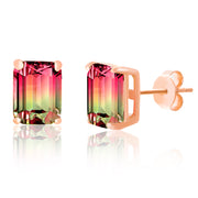 Emerald Cut Prong Set Simulated Watermelon Tourmaline and Round Cubic Zirconia Stud Bridal Earring for Women in Rose Gold Plated 925 Sterling Silver