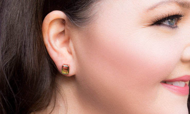 Emerald Cut Simulated Watermelon Tourmaline and Cubic Zirconia Stud Earring in Rose Gold Plated Sterling Silver