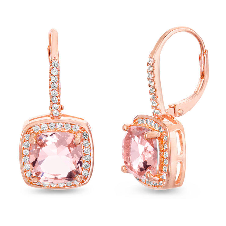 Cushion Shaped Prong Set Simulated Morganite and Cubic Zirconia Drop Dangle Bridal Leverback Halo Earring for Women in Rose Gold Plated 925 Sterling Silver
