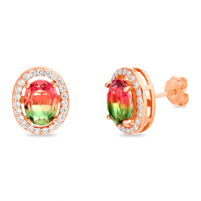 Simulated Watermelon Tourmaline and Cubic Zirconia Oval Stud Earrings in Rose Gold Plated Sterling Silver