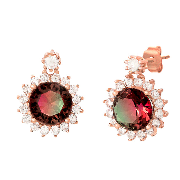 Simulated Watermelon Tourmaline and Cubic Zirconia Drop Earrings in Rose Gold Plated Sterling Silver