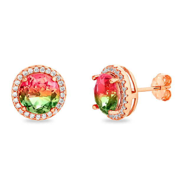 Simulated Watermelon Tourmaline and Cubic Zirconia Round Stud Earrings in Rose Gold Plated Sterling Silver