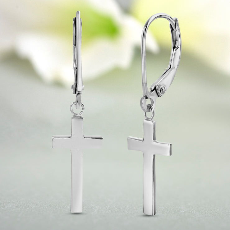 Dangling Cross Lever Back Earrings in Rhodium Plated Sterling Silver