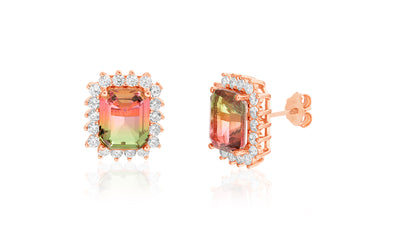 Emerald Cut Simulated Watermelon Tourmaline and Cubic Zirconia Stud Earrings in Rose Gold Plated Sterling Silver