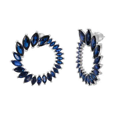 Simulated Blue Sapphire Circle Earrings in Rhodium Plated Sterling Silver