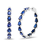 Pear Shaped Prong Set Simulated Blue Sapphire Large Inside Outside Bridal Hoop Earring for Women in Rhodium Plated 925 Sterling Silver