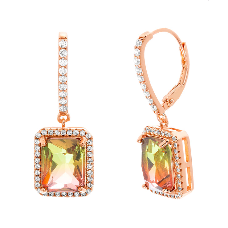 Simulated Watermelon Tourmaline and Cubic Zirconia Dangle Leverback Earrings in Rose Gold Plated Sterling Silver