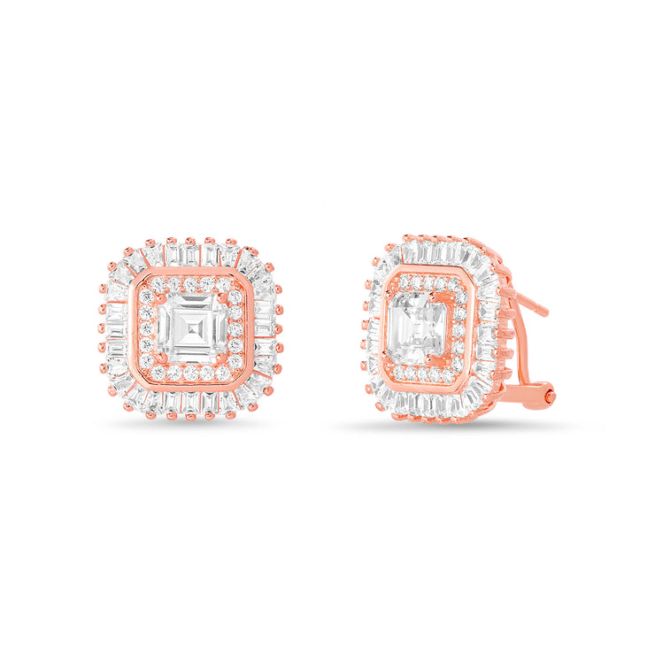 Square Emerald and Round Prong Set Cubic Zirconia Ballerina Stud Bridal Halo Earring for Women with Omega Back in Rose Gold Plated 925 Sterling Silver