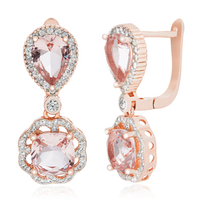 Simulated Morganite and Cubic Zirconia Dangle Earrings in Rose Gold Plated Sterling Silver
