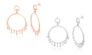 Open Circle CZ Bezel Set Dangle Post Earring in Sterling Silver