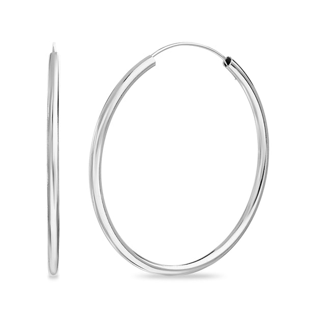 70mm Sterling Silver Endless Hoop Earrings