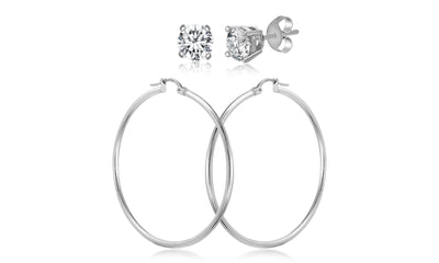 5mm Cubic Zirconia Stud and 50mm Hoop Earring Set in Sterling Silver