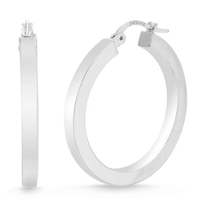 Sterling Silver 30mm Squared Hoop Earrings