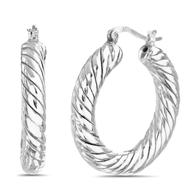30mm Sterling Silver Twisted Rope Hoop Earrings
