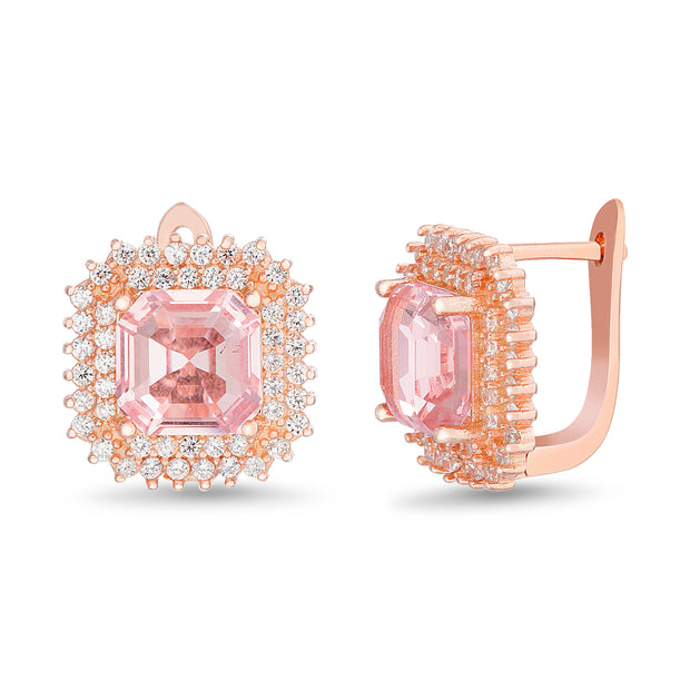 Square Emerald and Round Prong Set Simulated Morganite and Cubic Zirconia Stud Bridal Halo Earring for Women in Rose Gold Plated 925 Sterling Silver
