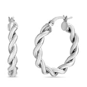 25mm Sterling Silver Twisted Hoop Earrings