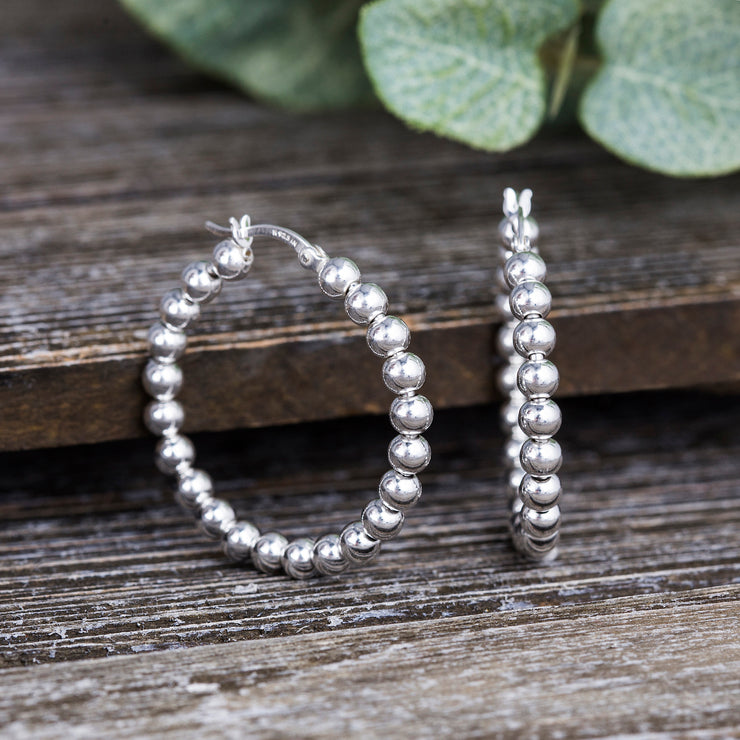 Beaded Ball Hoop Earrings in Sterling Silver